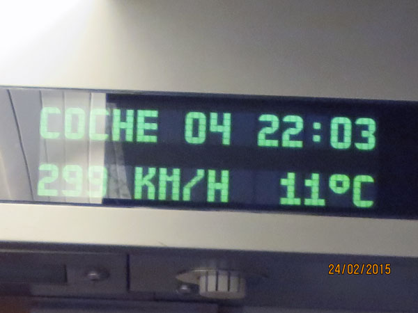 almost 300km]h on train to Valencia