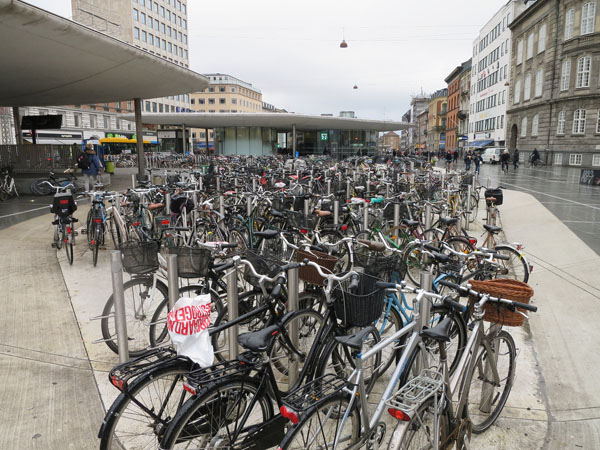 bicycles at railway station