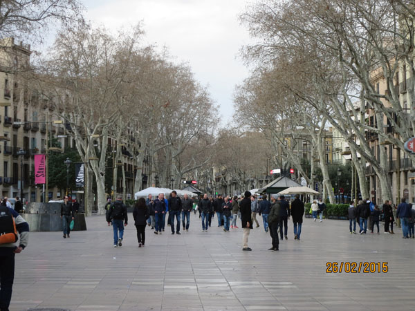 Part of the street known as the Ramblas