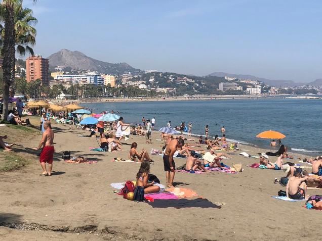 A beach scene in Malaga